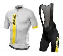 Bretelle E Camisa Ciclismo Equipes Mavic Gel 9d Cinza Preto -
