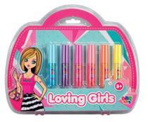 Brilho Labial Infantil com 6un Gloss com Maleta Batom - Bbr Toys