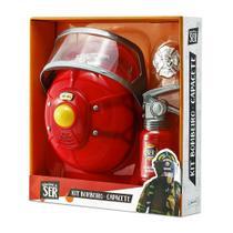 Brincando de Ser Kit Bombeiro Capacete Indicado para +3 Anos Vermelho Multikids - BR964 -