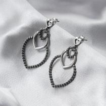 Brinco de Prata Estilo Bali Coração com Trabalhado Envelhecido db060eda48
