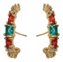 Brinco Moda Blogueiras Earhook Pedras Colorido Vermelho Verd - Gazin Semijoias