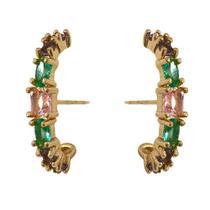 Brinco Moda Blogueiras Earhook Pedras Rosa Verde Roxo - Gazin Semijoias