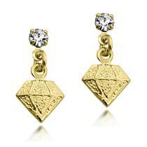 09846b013c30e Brinco Pendente em Formato de Diamante Folheado a Ouro 18k