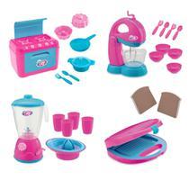 Brinqudo infantil kit 4 usual fogão + sanduicheira + liquidificador + batedeira linha le chef - Usual Plastic