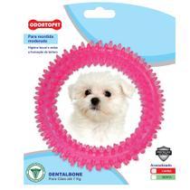 Brinquedo Argola Dentalbone Cães Mordida Moderada 7kg Odontopet Rosa -