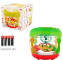Brinquedo Bebê Batuque Peixinhos Tambor Luz Som + 4 Pilhas - Toy King