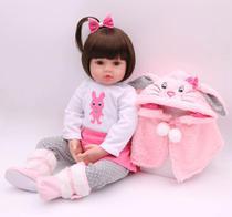 brinquedo boneca bebe reborn 47cm corpo de pano e casaquinho de frio - Npk Collection