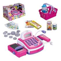 Brinquedo Caixa Registradora Infantil Rosa Brincando de Profissões Com Acessórios Som e Luz Art Brink -