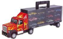 Brinquedo Carreta Cegonha Com 12 Carrinhos Maleta - Braskit -
