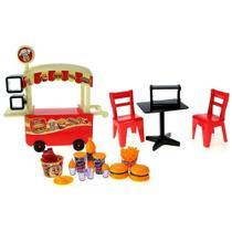 Brinquedo Carrinho De Hambúrguer Food Truck Lanchonete Móvel Fast Food Para Boneca - Pardes -