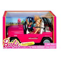 Brinquedo Carro Veículo Jipe Automóvel De Praia Rosa - Acompanha Boneca Barbie E Boneco Ken - Mattel -