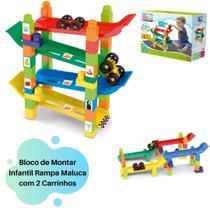 Brinquedo de Montar Infantil Rampa Maluca com 2 Carrinhos inclusos - Dismat