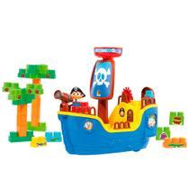 Brinquedo Didatico Navio Pirata Cardoso Toys com 30 Blocos de Montar -