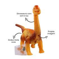 Brinquedo Dinossauro Braquiossauro Interativo Com Mini Ovos Anda Faz Som e Luz - Brinquedeiro