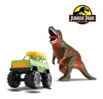 Brinquedo Dinossauro Tiranossauro Rex + Carrinho Jipe Dino - Samba Toys