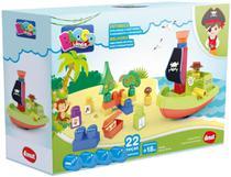 Brinquedo Educativo Blocos De Montar Ilha Do Pirata 22 Peças - Dismat