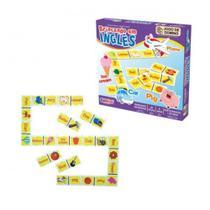 Brinquedo Educativo - Dominó Inglês - 28 Peças em Madeira - Ciabrink