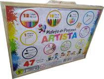 Brinquedo Educativo Maleta do Pequeno Artista com 47 Itens de Pintura - Conceito Basico