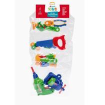 Brinquedo ferramentas intanfil kit completo 16 peças coloridas - Tateti