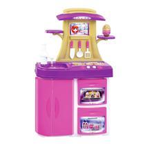 Brinquedo Fogão Cozinha Infantil Menina Meg mais Capcake Panela e Acessorios som Luzes - Magic Toys