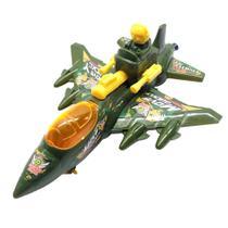 Brinquedo Infantil Aviãozinho Caça a Corda que Anda e mexe as Arminhas Verde - Cim Toys