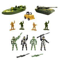 Brinquedo Infantil Cenário Militar c/ Soldadinhos Tanque Barco Jipe e Arminhas Kit com 11 Peças - Cim Toys