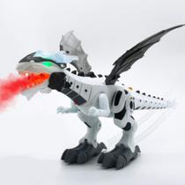 Brinquedo Infantil Dragão Dinossauro c/ Luz Som Solta Fumaça - Fungame -