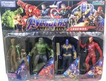 Brinquedo infantil Kit Cartela com 4 bonecos Avengers Vingadores -