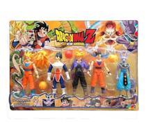 Brinquedo infantil Kit Cartela Com 5 Bonecos Dragon Ball Articulado 15 Cm -