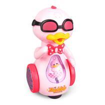 Brinquedo Infantil Pato Patinho de óculos Dançarino som  Luz - Toy King