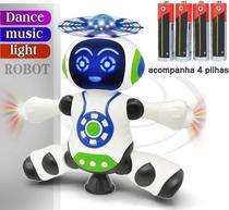 Brinquedo Infantil Robô 360 Dança Gira Som e Luz + 4 Pilhas - Yijun
