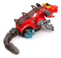 Brinquedo Infantil Tiranossauro Rex Robô Solta Fumaça Luzes Anda Mexe Cabeça Cauda Sons - Vermelho - Barcelona