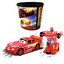 Brinquedo Infantil Transformes Carro Vira Robô c/ Balde de Pipoca do Relâmpago Mcqueen - Toy King