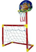 Brinquedo Jogo 2 Em 1 Basquete Futebol Trave Cesta Bolinhas - Importway