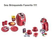 Brinquedo Kit Air fryer + Cafeteira Expresso Kids Gourmet Linha Chef Colors 26 peças - Zuca Toys
