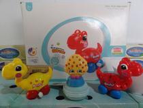 brinquedo kit c/4=2 dino a corda 1 slime macarons 1 frutinha - Om