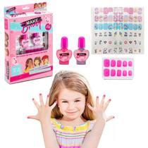 Brinquedo Kit de Unhas Infantil Criança Com Esmaltes Adesivos Polibrinq -