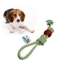 Brinquedo Mordedor Para Cães Pet Corda Bolinha Limpa Dentes - 123Útil