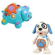 Brinquedo Musical Dancing Dog + Tartaruga Bate Volta c/ Luz - Dm Toys