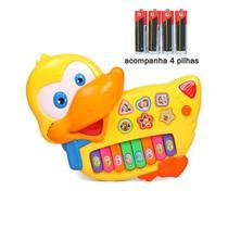 Brinquedo Pato Teclado Infantil Bebês Músicas Luz + 4 Pilhas - Toy King