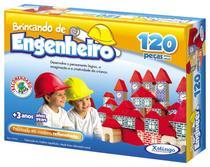 Brinquedo Pedagógico blocos de Madeira Engenheiro 120 Peças - Xalingo