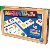 Brinquedo pedagogico madeira alfabeto domino e memoria - Pais E Filhos