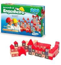 Brinquedo Pedagógico Madeira Brincando Engenheiro 200 Peças - Xalingo