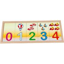 Brinquedo Pedagogico Madeira NUMERAIS/QUANT.NA Base 20PCS - GNA