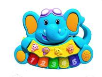 Brinquedo Pianinho Musical para Bebês Piano Infantil com Som e Luzes Elefante Azul - Piano Cow