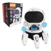 Brinquedo Robô Aranha Dançarino 6 Pernas Com Luz, Som Cyber Bot BRANCO - Fungame - Genext