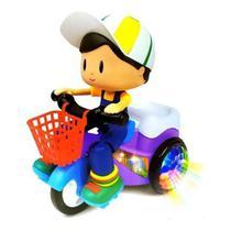 Brinquedo Triciclo Bate Volta Empina Gira 360 Som Luz Menino - TOYS