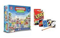 Brinquedos Crianças 8 Anos Jogo Decisões - A Vida é um jogo! Estrela + Jogo Uno Copag -