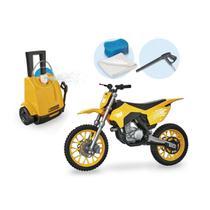 Briquedo radical wash garage moto cross suspesão mola e lavadora que sai água de verdade - Usual Plastic