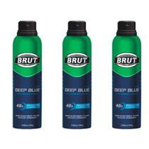 Brut Deep Blue Desodorante Aerosol 48h 150ml (Kit C/03) -